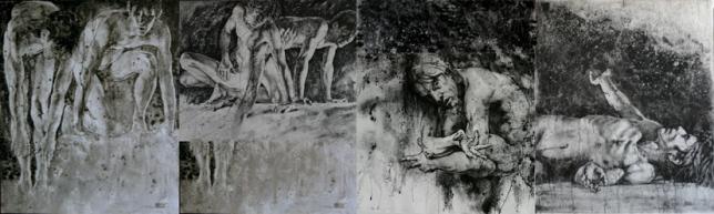 Paradise Lost 失乐园组画 400 x 120cm 布面综合材料