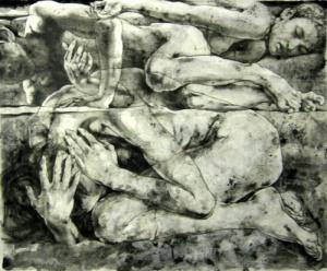 Dead Sea 但丁的海 布面综合材料 66x80cm